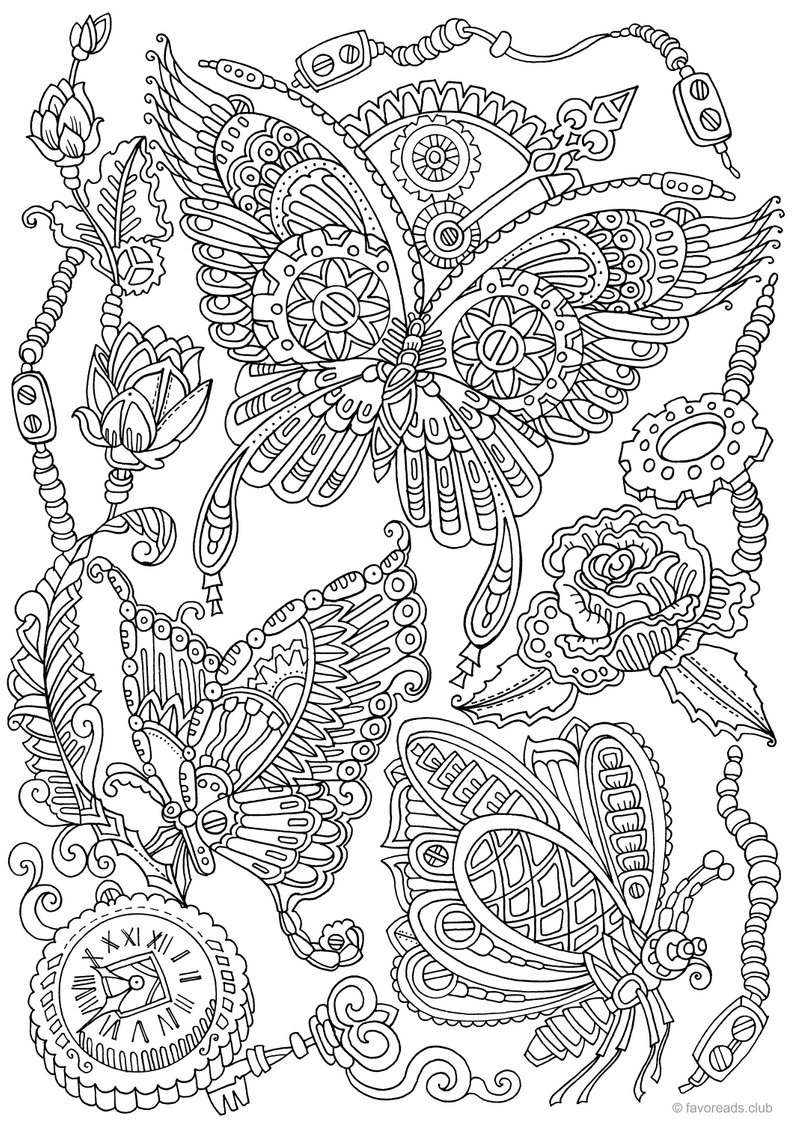 Adult Coloring Book Pages Steampunk Butterflies Printable Adult