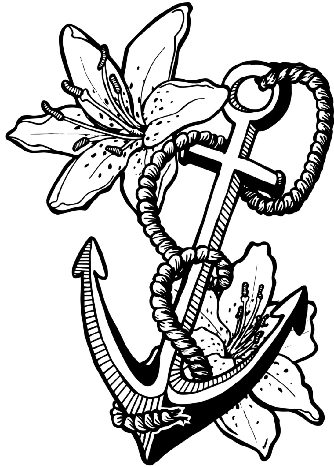 image relating to Printable Anchor called Anchor Coloring Site Anchor With Rope Coloring Site Cost-free