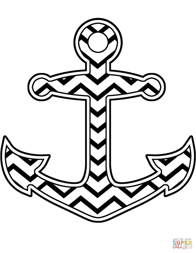 Anchor Coloring Page Chevron Anchor Coloring Page Free Printable Coloring Pages