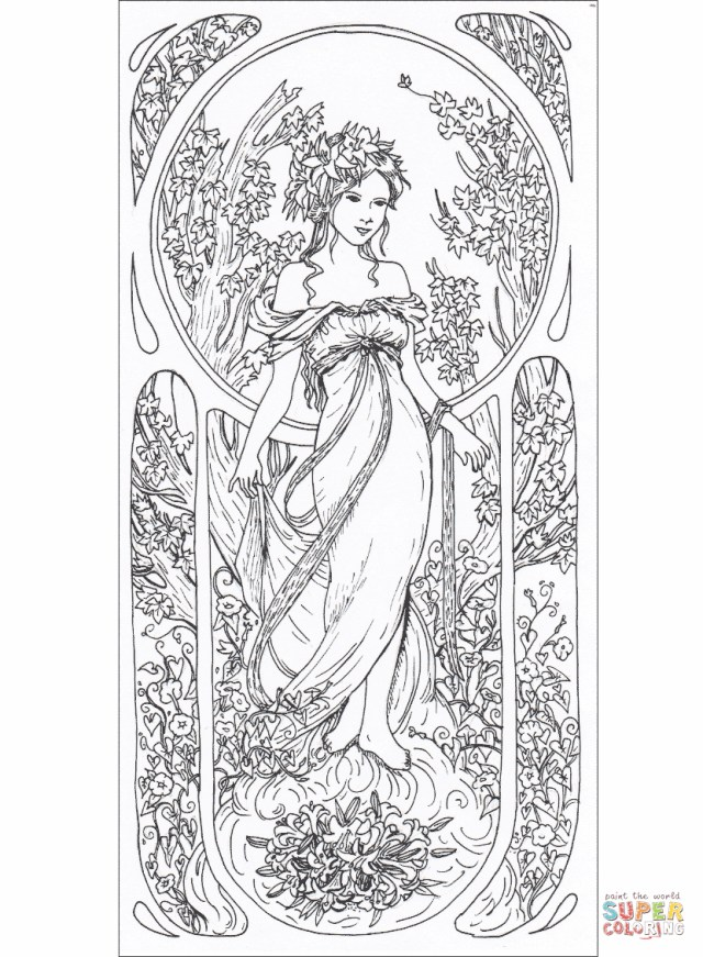 Art Coloring Pages Art Nouveau Coloring Pages Free Coloring Pages