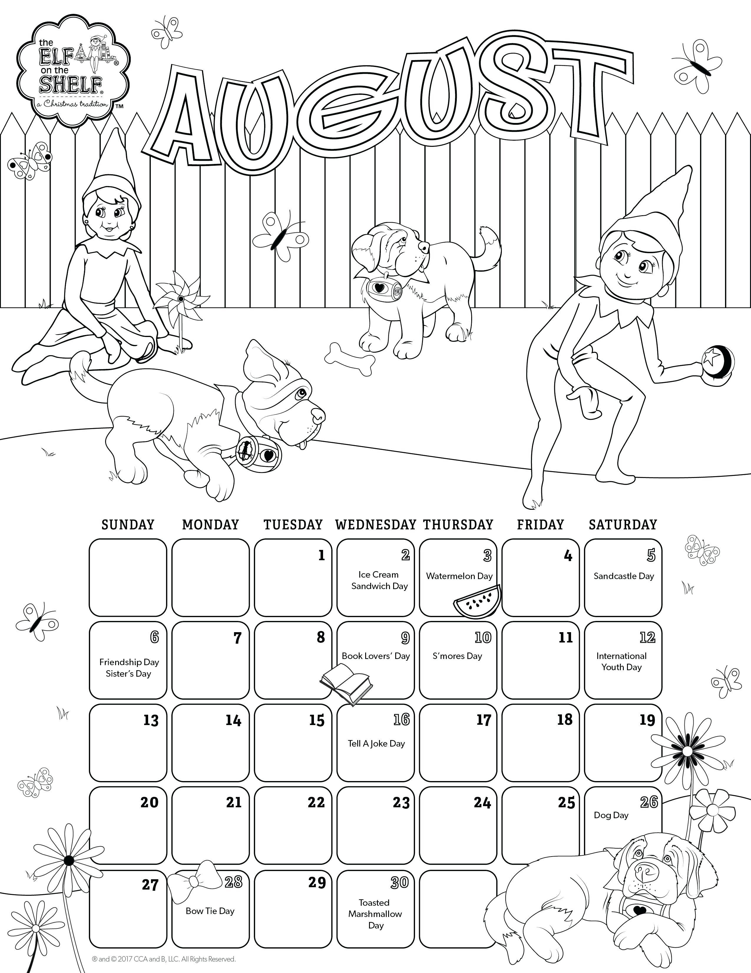 photo regarding Printable Kids Calendar named August Coloring Webpages August Printable Calendar Coloring
