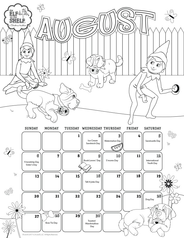August Coloring Pages August Printable Calendar Coloring Pages For Kids Calendars Elf On