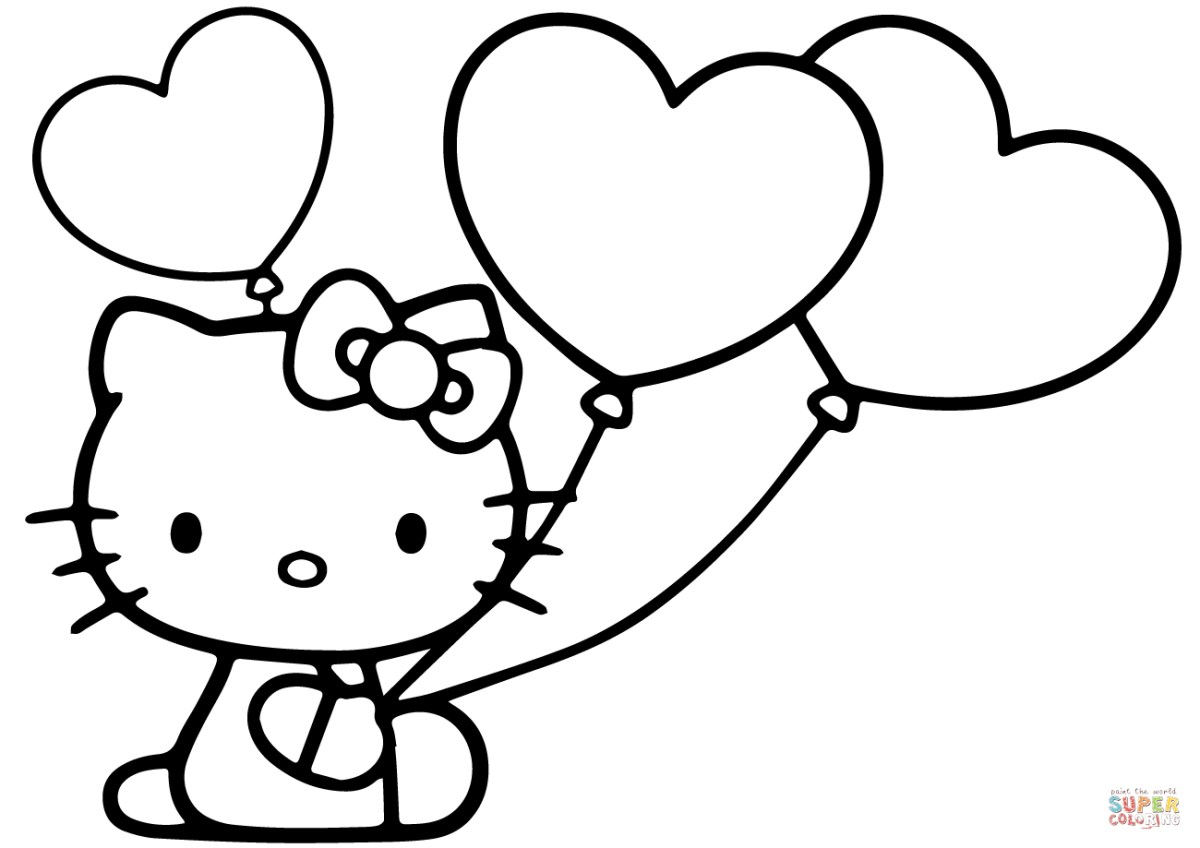 Balloon Coloring Pages Hello Kitty With Heart Balloons Coloring ...