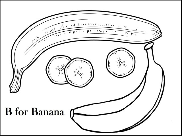 Banana Coloring Page Coloring Pages Of Bananas B For Banana Page Fruit Pinterest 1600