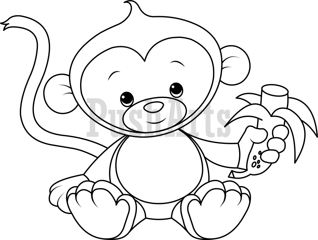 Banana Coloring Page Fresh Pictures Of Monkeys To Color Ba Monkey Eating Banana
