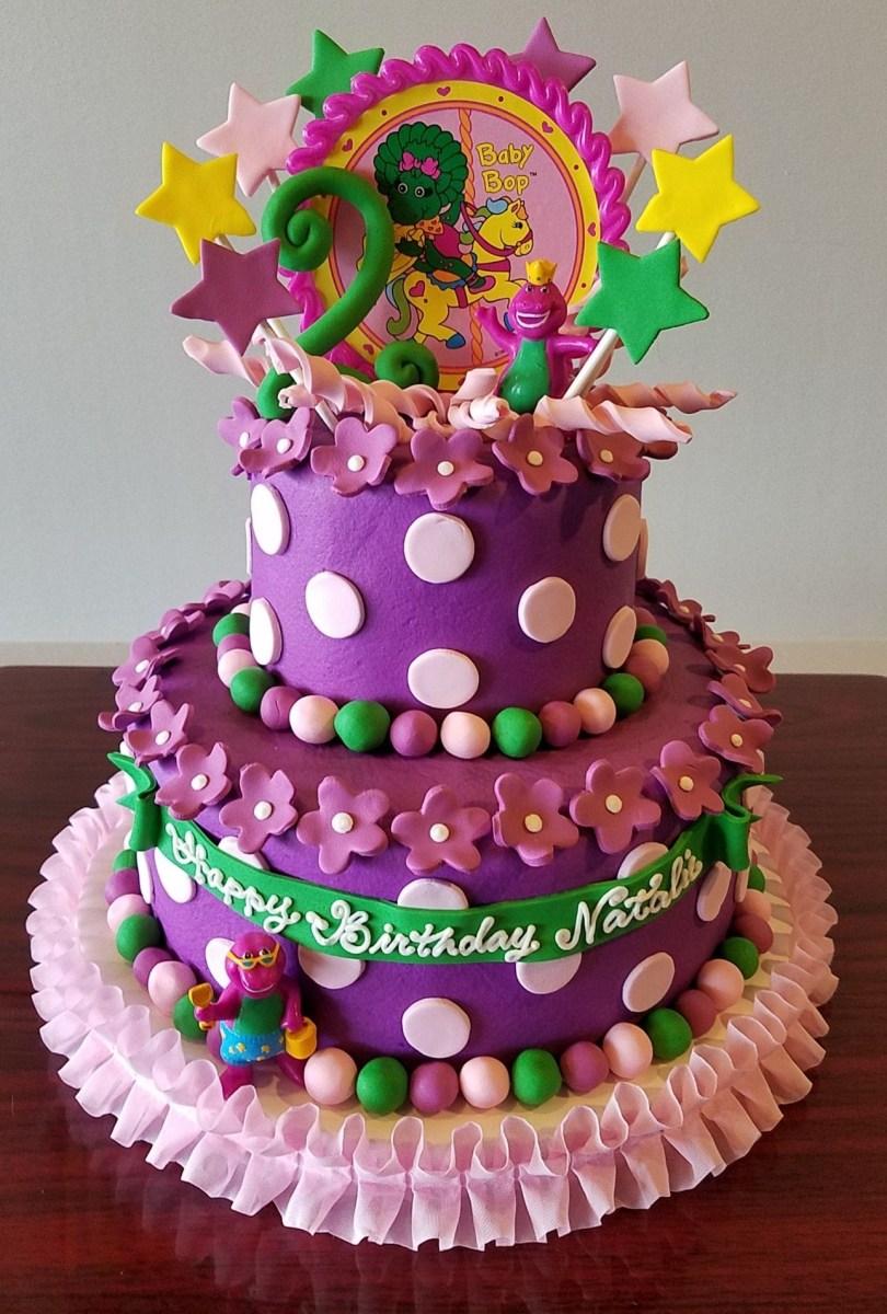 Peachy Barney Birthday Cake Barney Ba Bop Tiered Birthday Cake Adrienne Personalised Birthday Cards Cominlily Jamesorg
