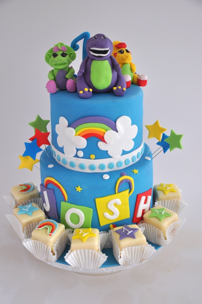 Prime Barney Birthday Cake Rozannes Cakes Brightly Coloured Barney And Personalised Birthday Cards Cominlily Jamesorg