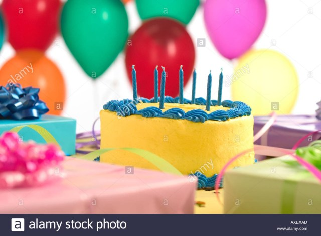 Birthday Cake And Balloons Birthday Cake With Balloons And Presents Stock Photo 5493420 Alamy