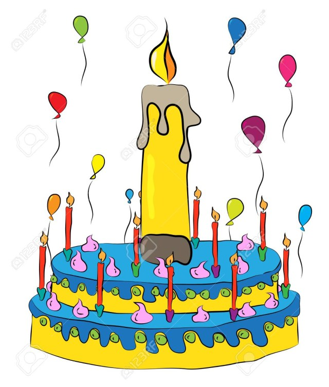 Birthday Cake And Balloons With Candles Royalty Free Cliparts