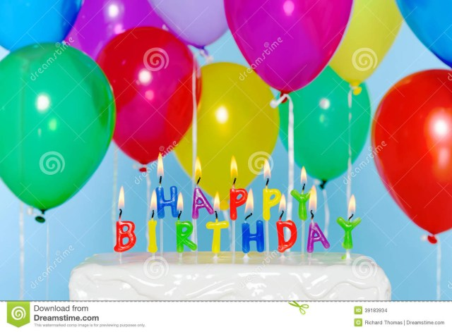 Birthday Cake And Balloons Happy Birthday Candles On Cake With Balloons Stock Photo Image Of