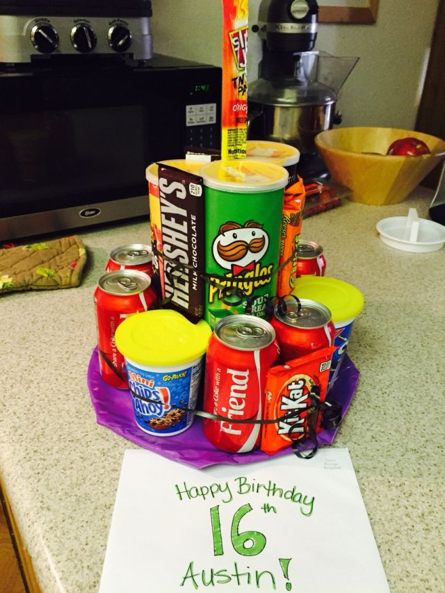 Birthday Cake For 12 Year Old Boy Pringles Soda Candy Junk Cake 16 Year Old Boy Birthday Idea