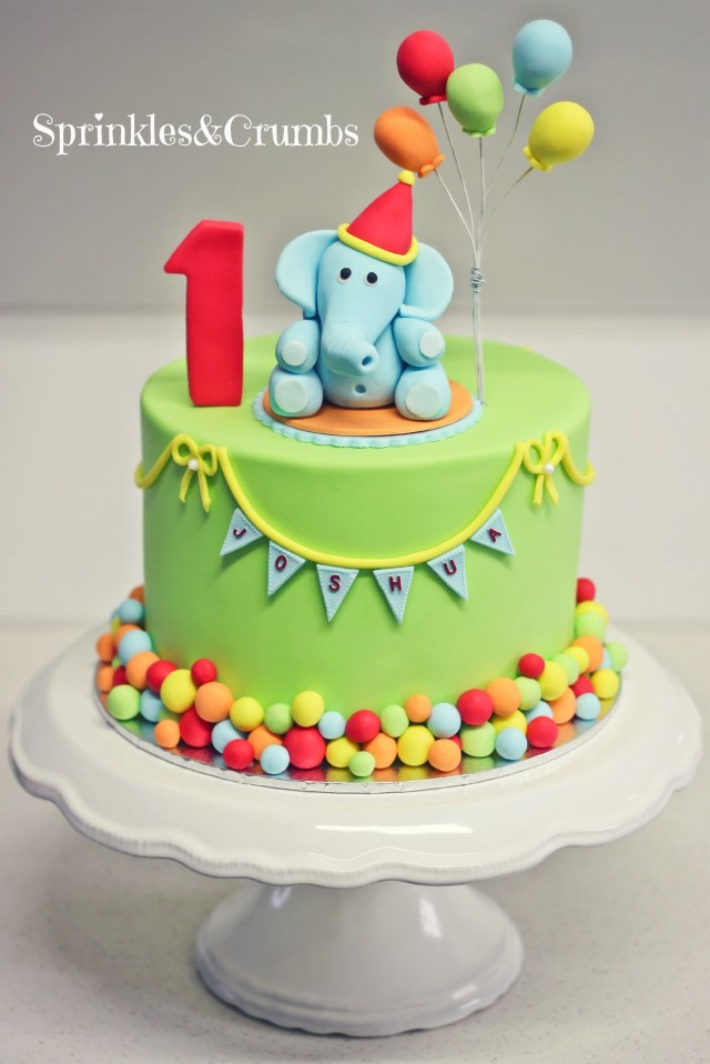 Birthday Cake For Boys A Colourful Circus Themed First Birthday Cake Featuring An Elephant