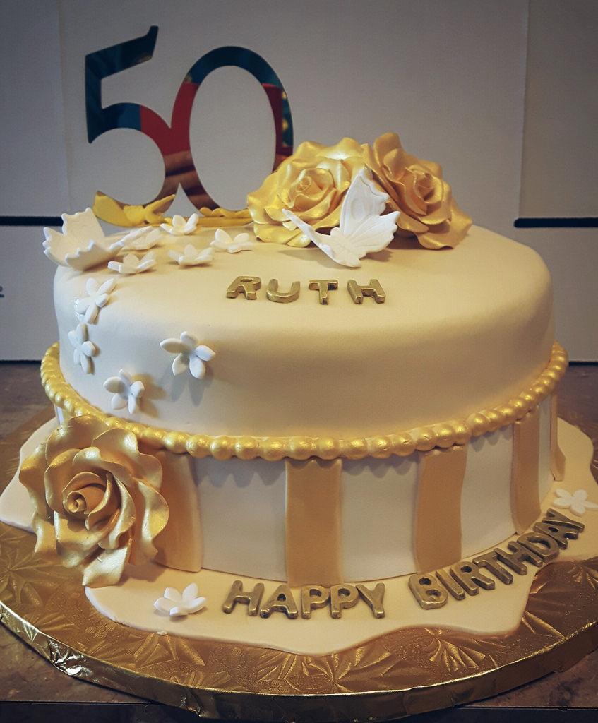 Awesome Birthday Cake For Mom Golden Birthday Cake Ordered Angela Personalised Birthday Cards Epsylily Jamesorg