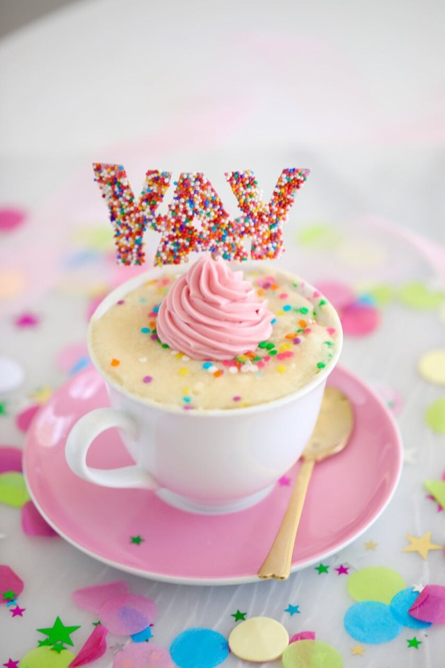 Birthday Cake In A Mug Celebration Vanilla Mug Cake Recipe Gemmas Bigger Bolder Baking