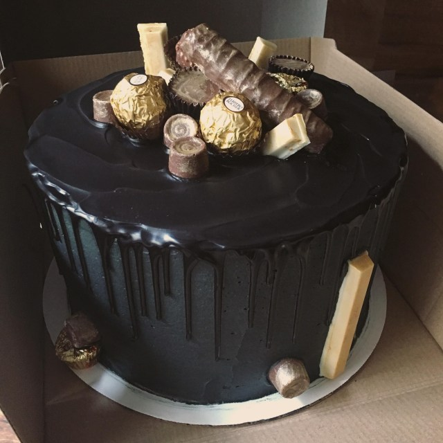 Black Birthday Cake Homemade Black Drip Birthday Cake Food