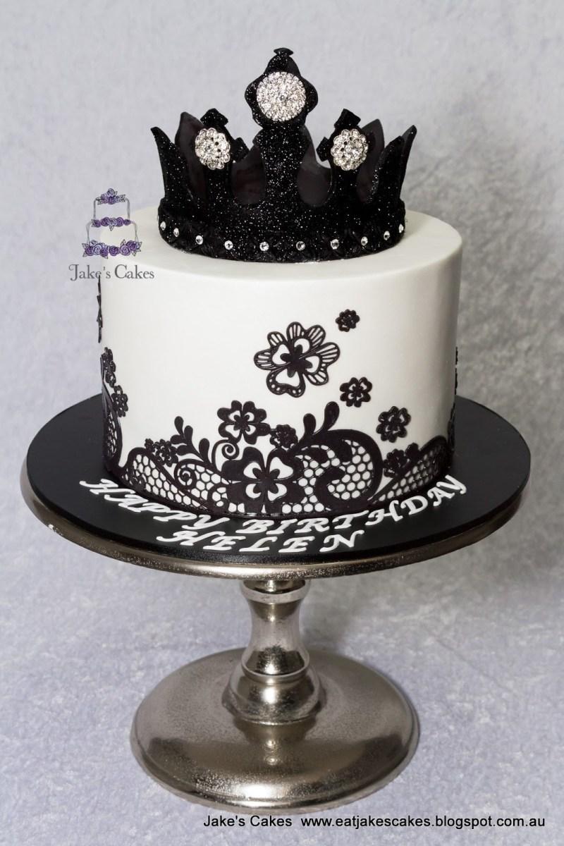 Tremendous Black Birthday Cake Jakes Cakes Black Bling Crown Cake Birijus Com Funny Birthday Cards Online Overcheapnameinfo