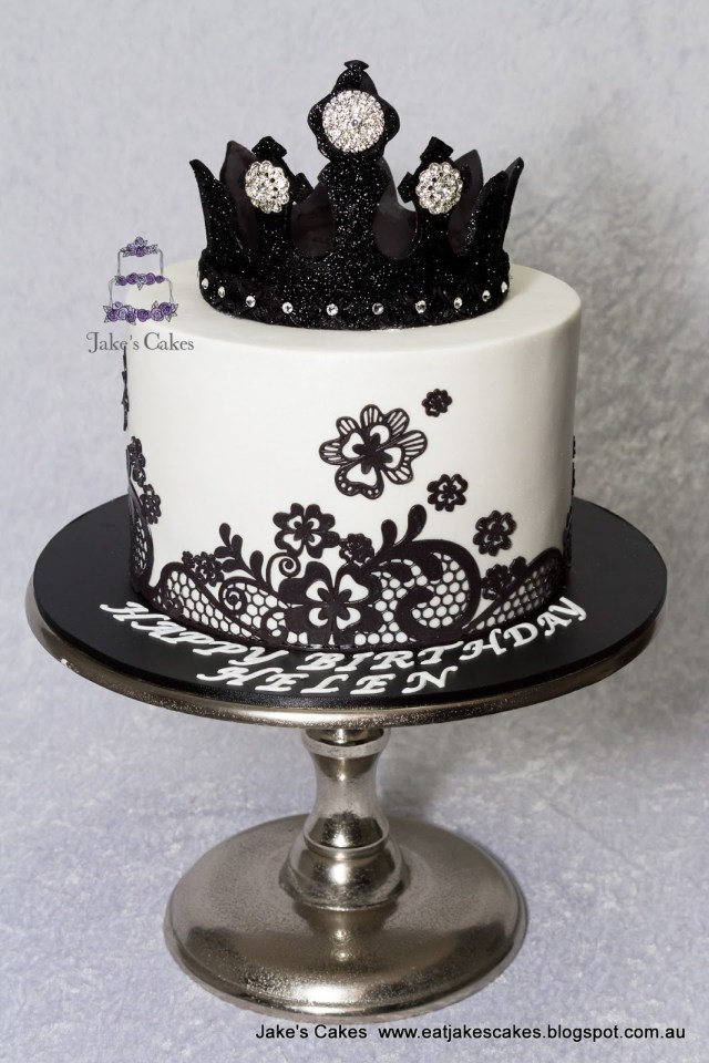 Black Birthday Cake Jakes Cakes Black Bling Crown Cake
