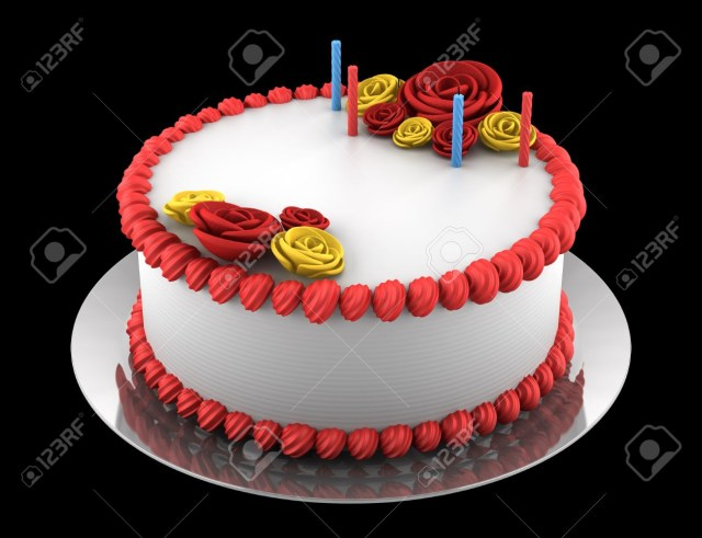 Black Birthday Cake Round Birthday Cake With Candles Isolated On Black Background Stock