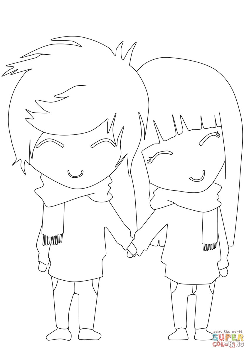 Boy and girl coloring pages anime boy and girl coloring page