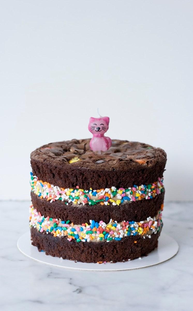 Sensational Brownie Birthday Cake Mm Chocolate Brownie Birthday Cake Treets Funny Birthday Cards Online Elaedamsfinfo