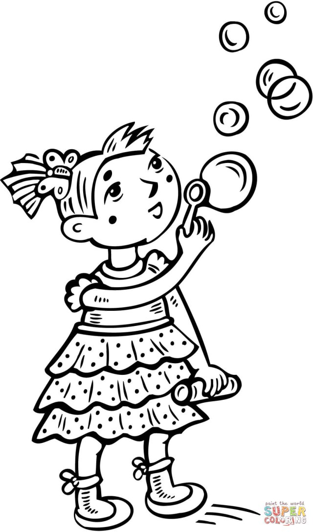 Bubble Coloring Pages Little Girl Blowing Bubbles Coloring Page Free Printable Coloring