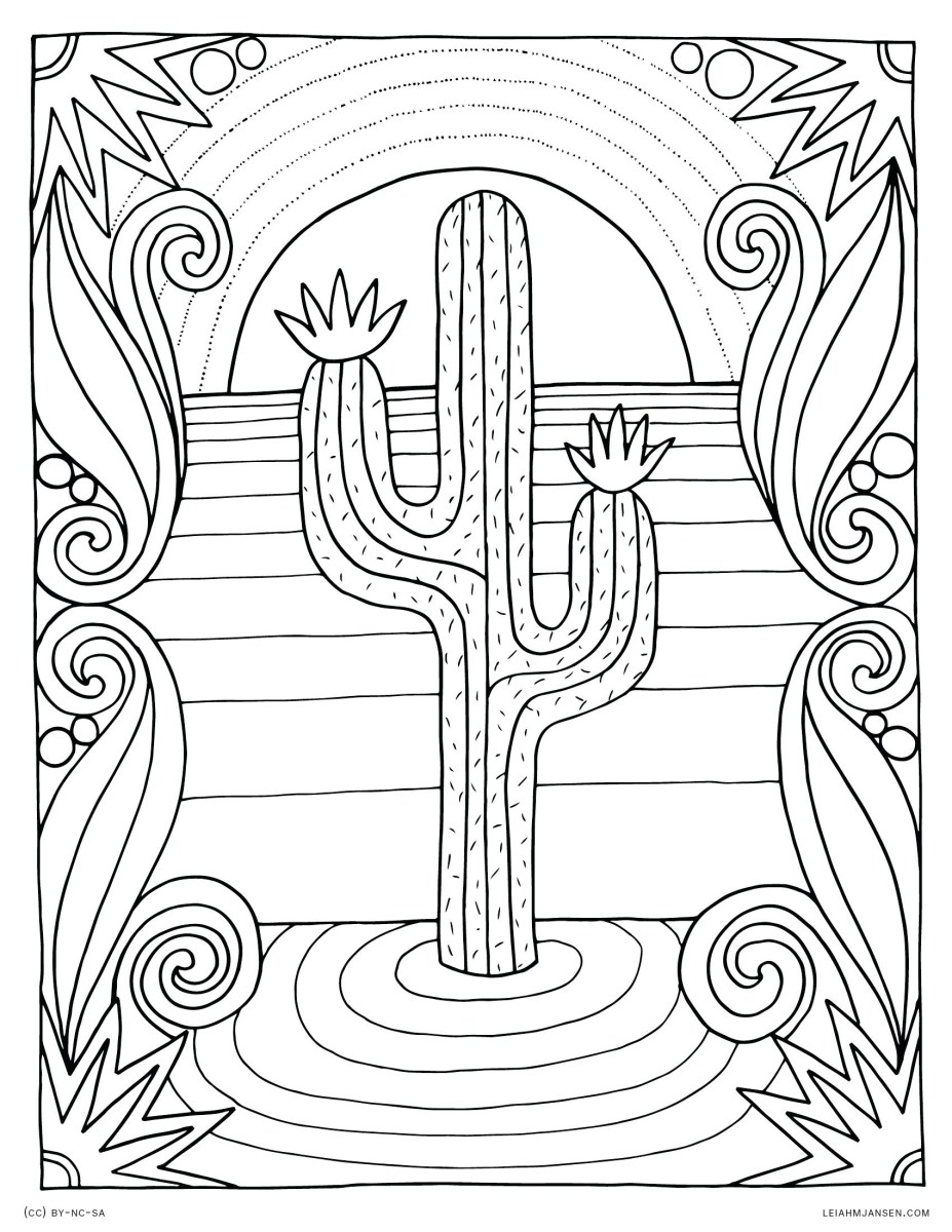 Cactus and Succulent Printable Adult Coloring Pages | 1200x927
