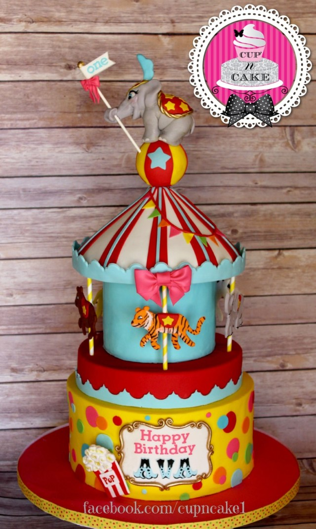Carnival Birthday Cake First Birthday Carousel Cake Cakecentral