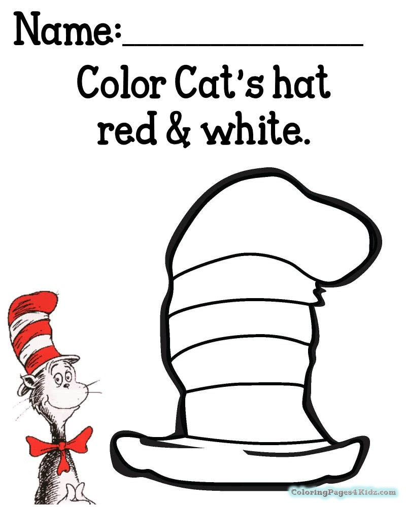 Cat In The Hat Coloring Page 15 Unique Cat In The Hat Hat ...