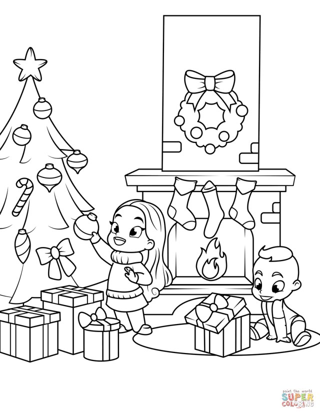 Christmas Tree Coloring Page Free Christmas Tree Coloring Pages For Kids Printable Near The Fireplace