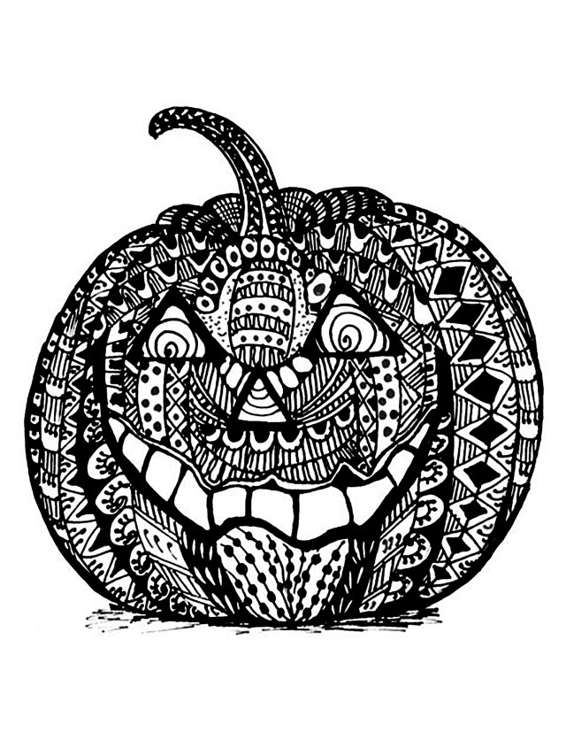 Coloring Pages For Halloween Halloween Zentangle Pumpkin Halloween Adult Coloring Pages
