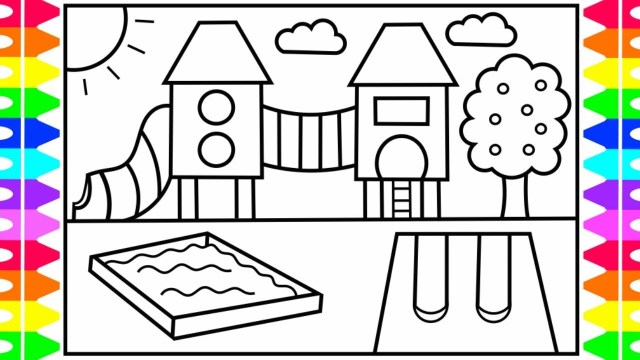 Coloring Pages For Kids How To Draw A Playground Step Step For Kids Playground Coloring