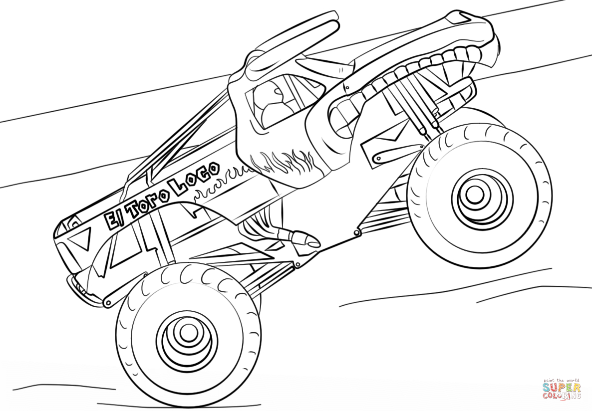 Coloring Pages Monster Trucks El Toro Loco Monster Truck Coloring Page Free Printable Coloring Pages Birijus Com