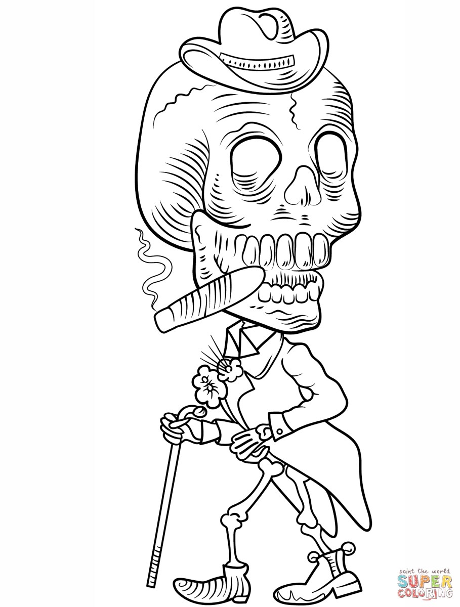 Day of the dead coloring pages day of the dead skeleton coloring