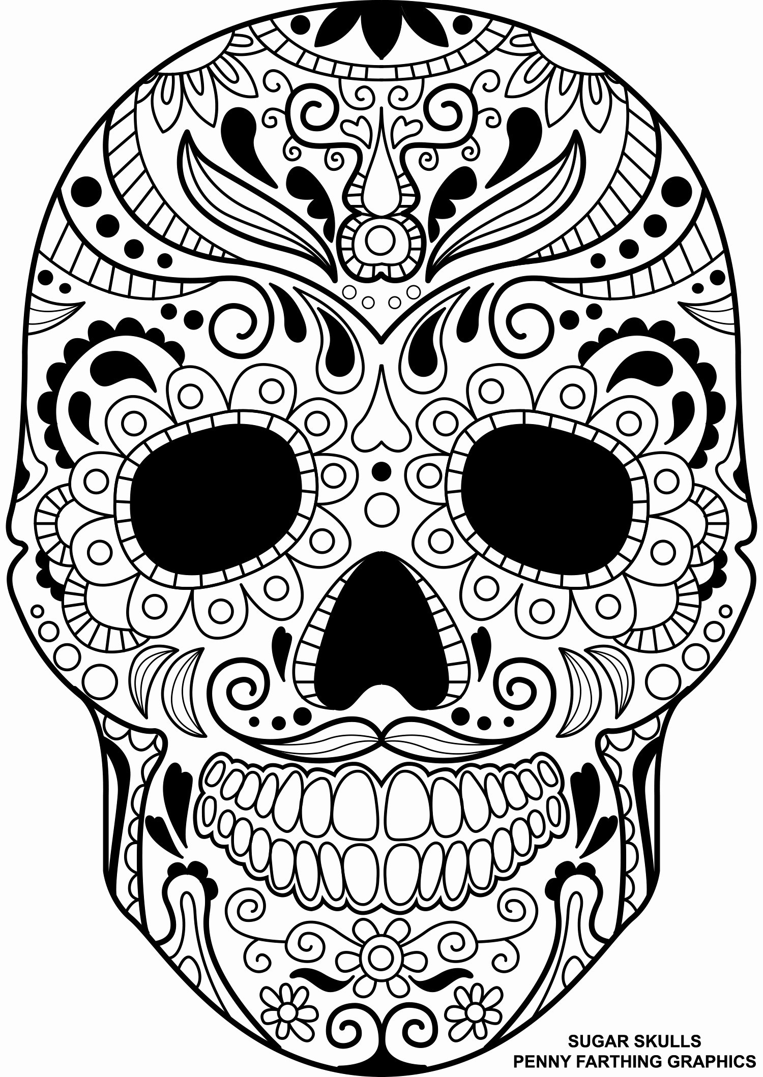 image relating to Printable Skull Coloring Pages called Working day Of The Lifeless Coloring Webpages Working day Of The Lifeless Skull