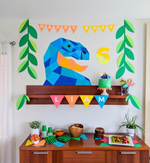 Dinosaur Birthday Cake Dinosaur Birthday Party Geometric Dinosaur Party Decor Cake