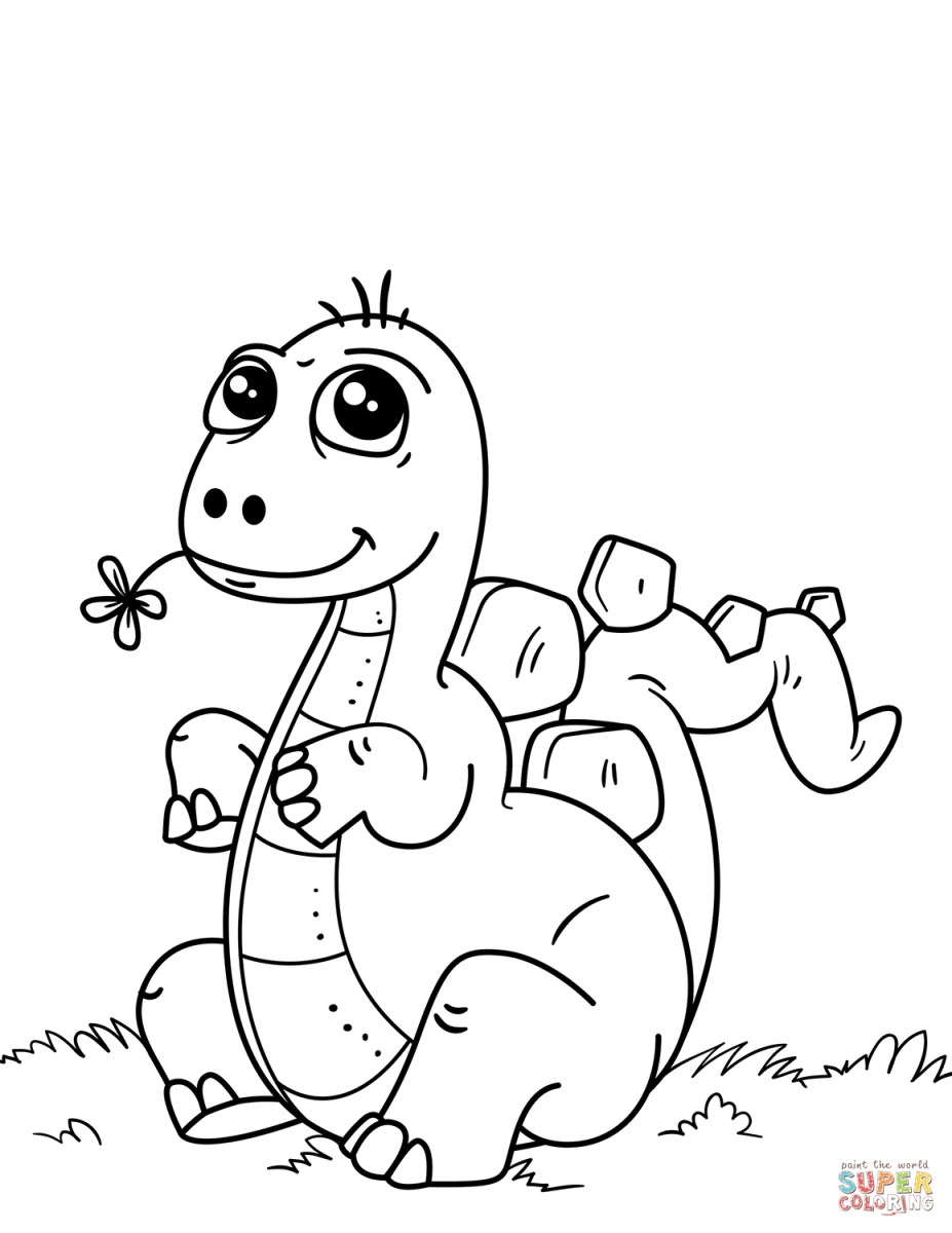 Baby Dinosaur Cartoon Coloring Page | Dinosaur coloring pages ... | 1200x927