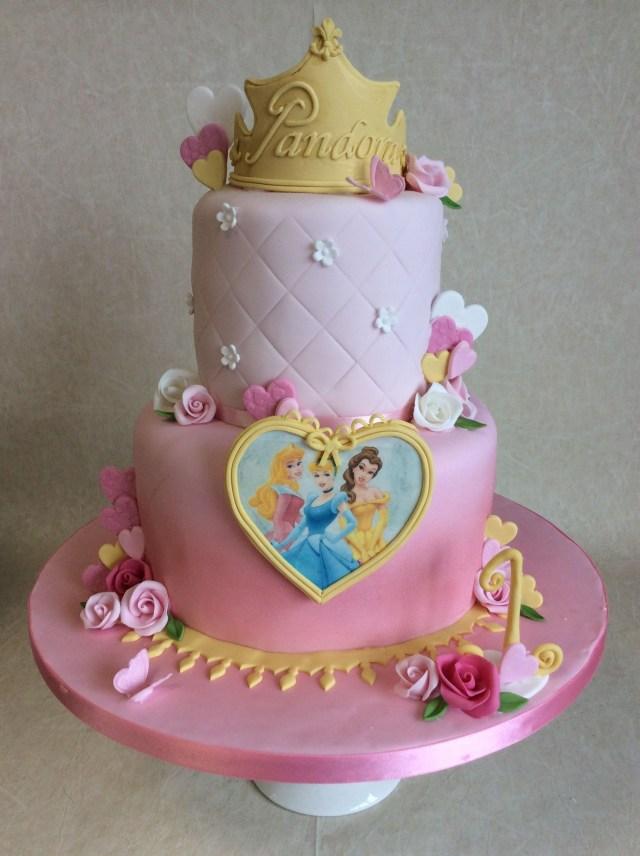 Disney Princess Birthday Cakes 2 Tier Theme 1st Cake Cupcakes