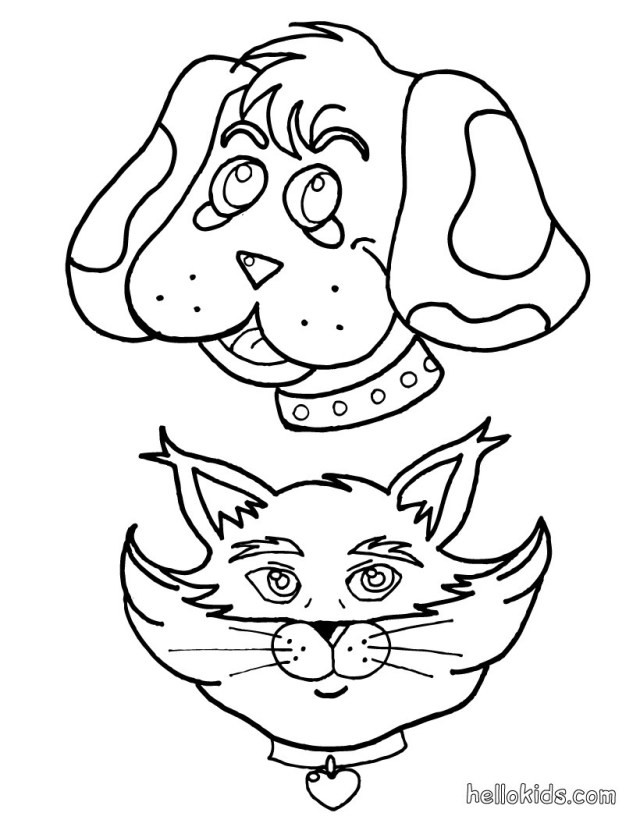 Dog And Cat Coloring Pages Dog And Cat Coloring Pages Hellokids