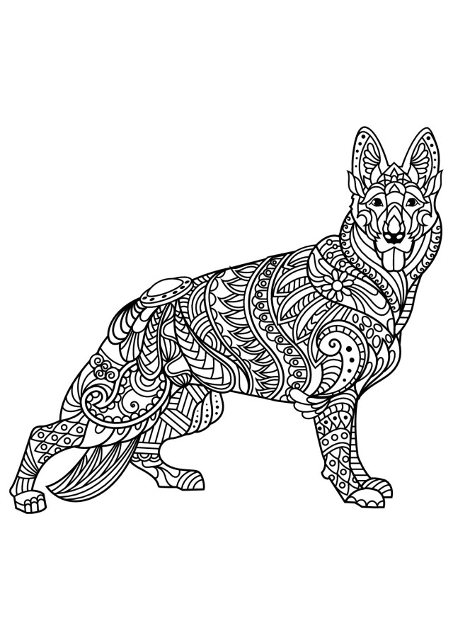 Dog Coloring Page Free Book Dog German Shepherd Dogs Adult Coloring Pages