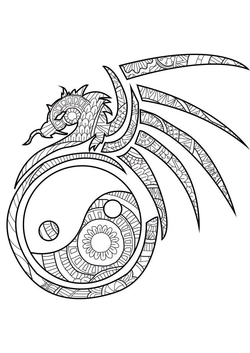 Dragon Coloring Pages For Adults The Spiritual Dragon Dragons Adult Coloring Pages Birijus Com