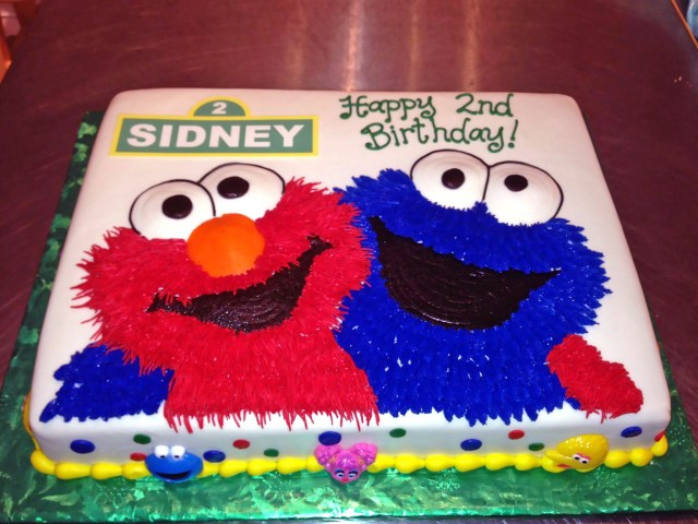 Elmo Birthday Cakes 2nd Birthday Cake Cookie Monster Elmo Kids Sesame Street Boys