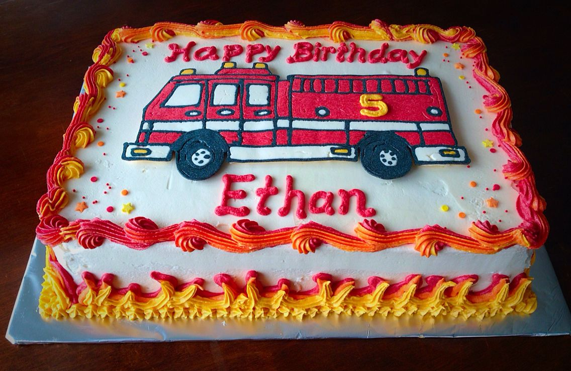Brilliant Fireman Birthday Cake Little Boy Buttercream Fire Truck Cake Birthday Cards Printable Nowaargucafe Filternl