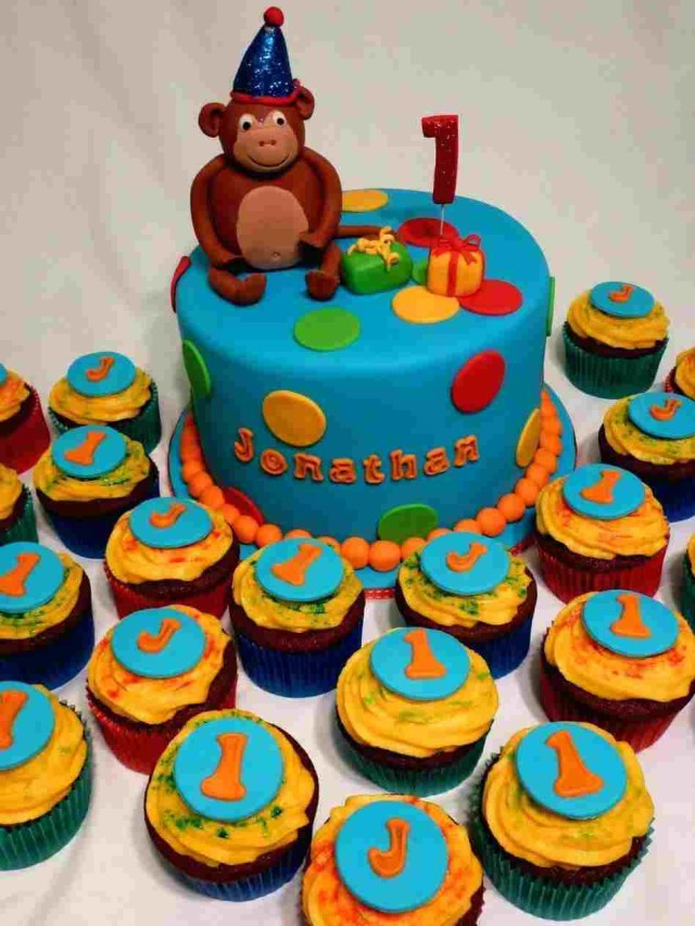 First Birthday Cake Boy Colored Polka Dotted St S Rhcom For