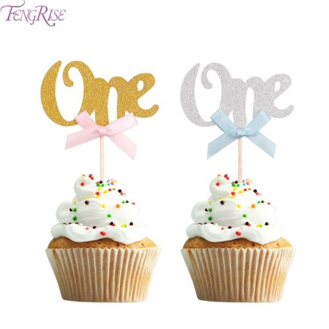 First Birthday Cake Toppers Fengrise First Birthday Cupcake Toppers Gold Silver Boy Girl Happy