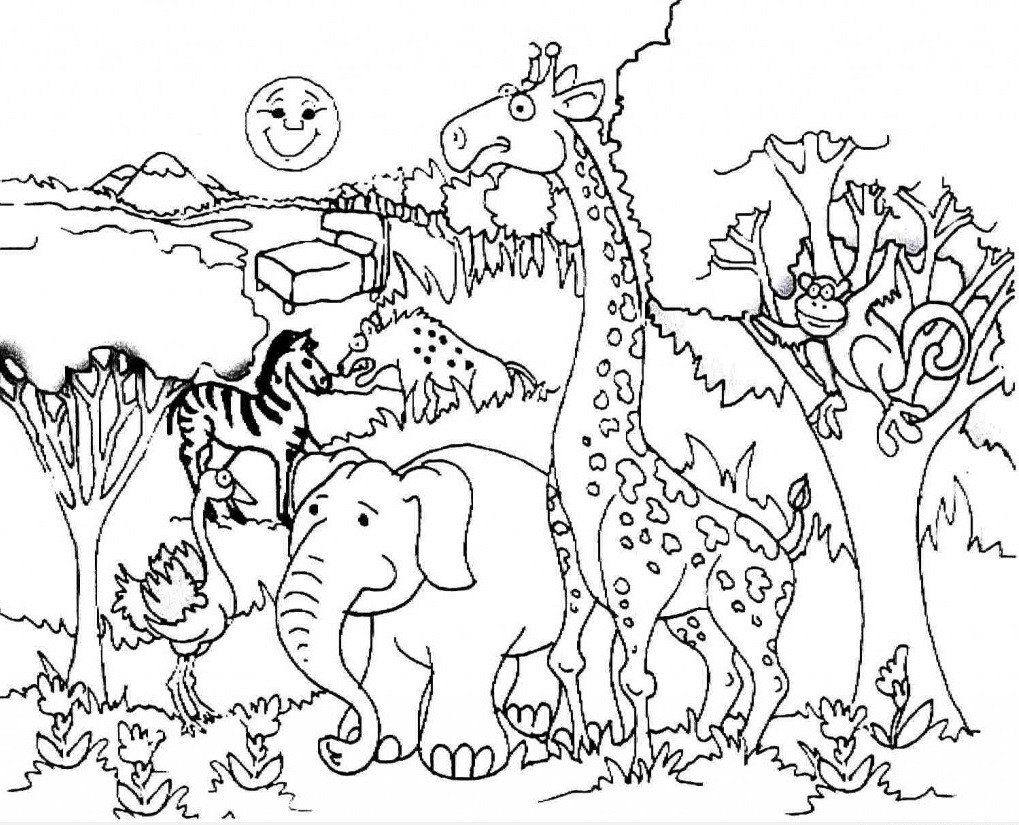Forest Animals Coloring Pages Animal Habitats Coloring Page With Forest Animals Coloring Pages Birijus Com