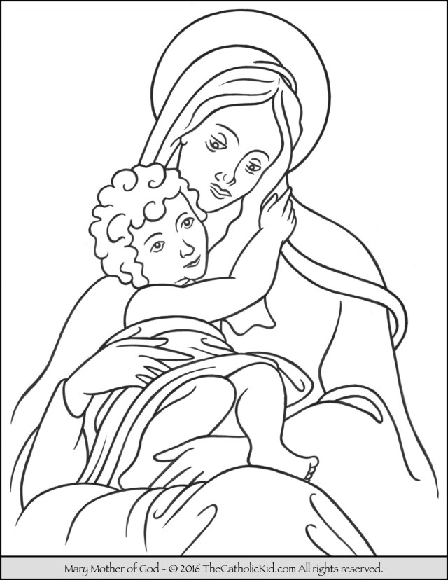 God Coloring Pages Mary Mother Of God Coloring Page Thecatholickid