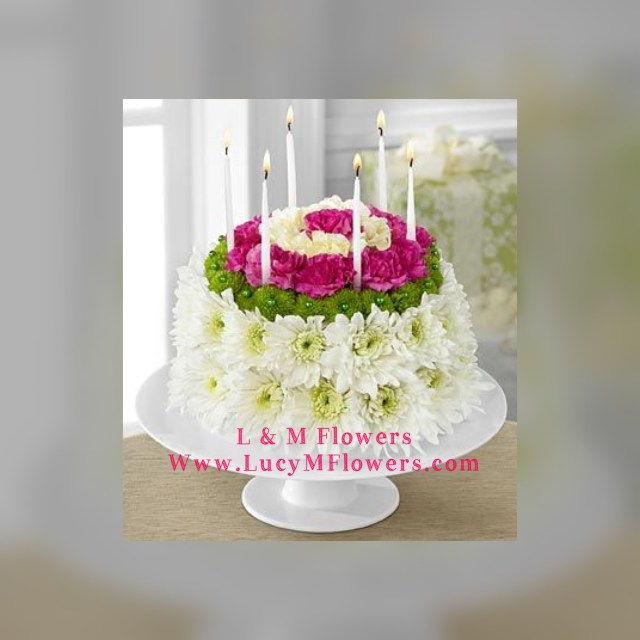 Happy Birthday Cake And Flowers Birthday Flower Cake In Midlothian Il L M Flowers
