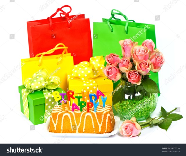 Happy Birthday Cake And Flowers Candles Gifts Stock Photo Edit Now