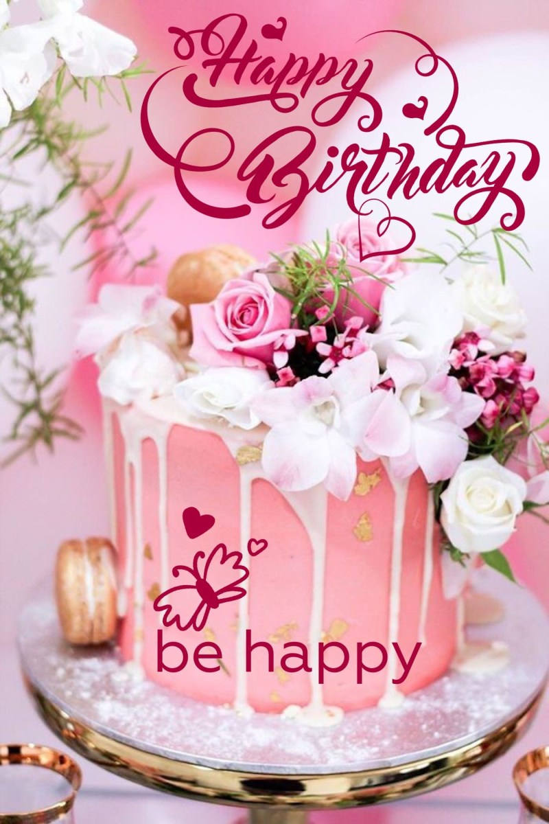 Swell Happy Birthday Cake And Flowers Happy Birthday Happy Birthday Funny Birthday Cards Online Overcheapnameinfo