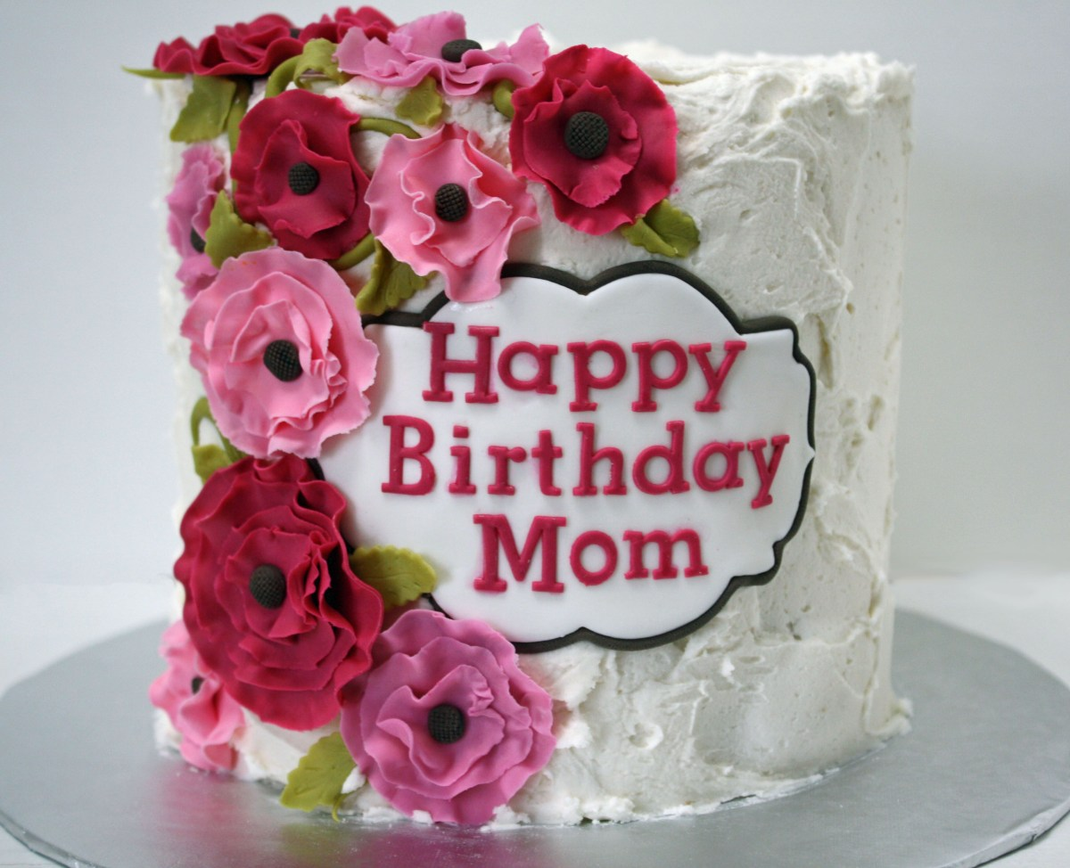 Pleasing Happy Birthday Cake And Flowers Happy Birthday Mom Cake With Pink Personalised Birthday Cards Veneteletsinfo
